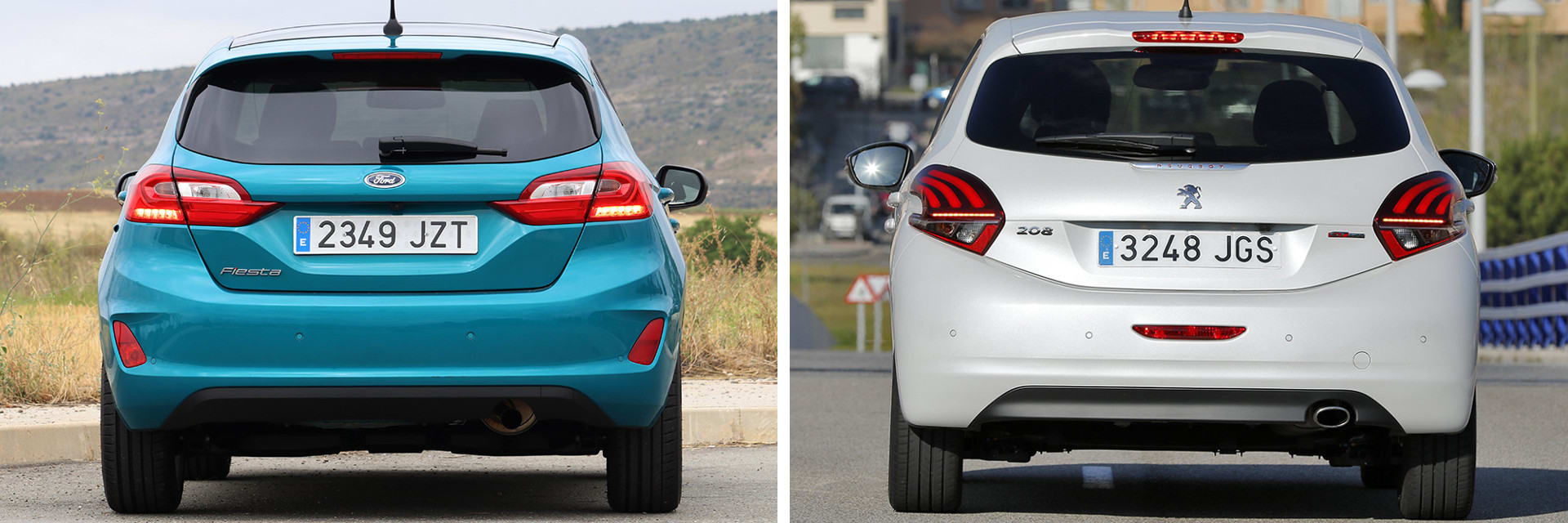 La luz de freno del Ford Fiesta cambia de intensidad dependiendo de la presión que se ejerza sobre el pedal, algo que no sucede en el Peugeot.