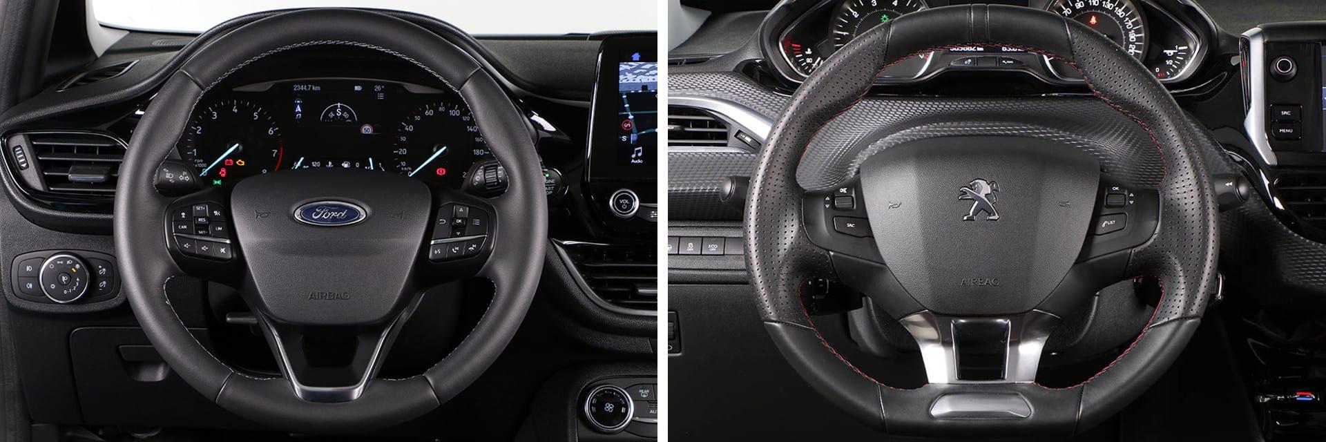 El Peugeot 208 tiene un volante de pequeñas dimensiones. La instrumentación se ve por encima de él y no a través del aro, como ocurre en el Ford Fiesta.