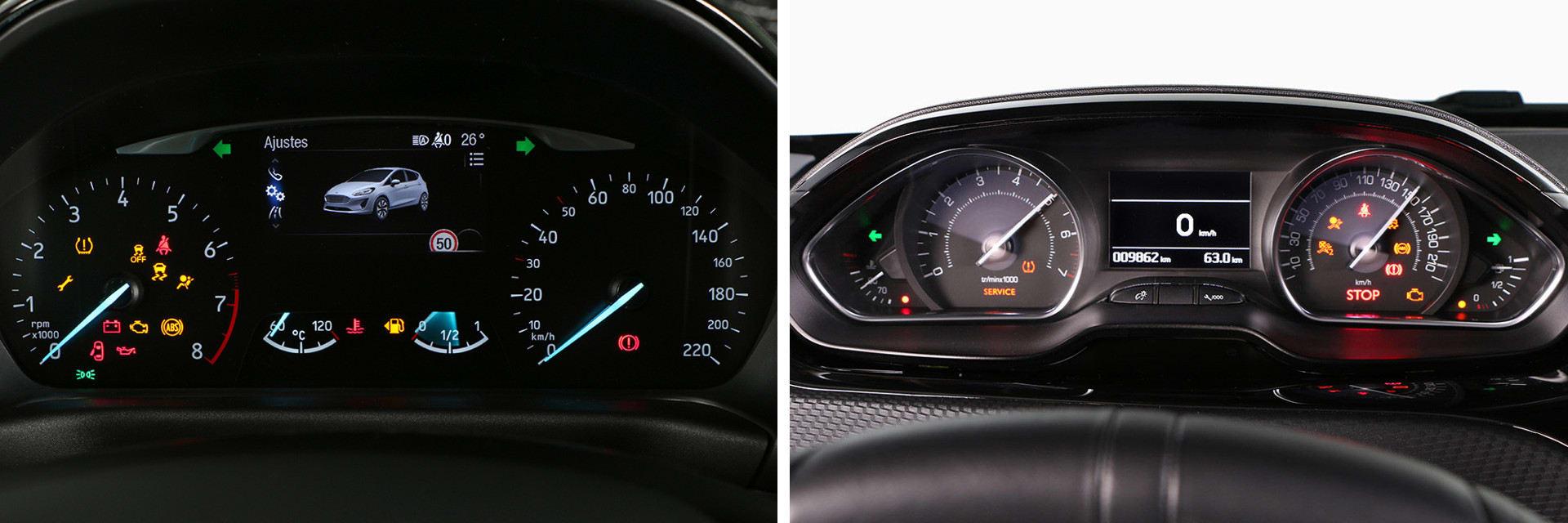 La instrumentación del Ford Fiesta (izquierda) se ve a través del aro volante, la del Peugeot 208 (derecha) se ve por encima de él.