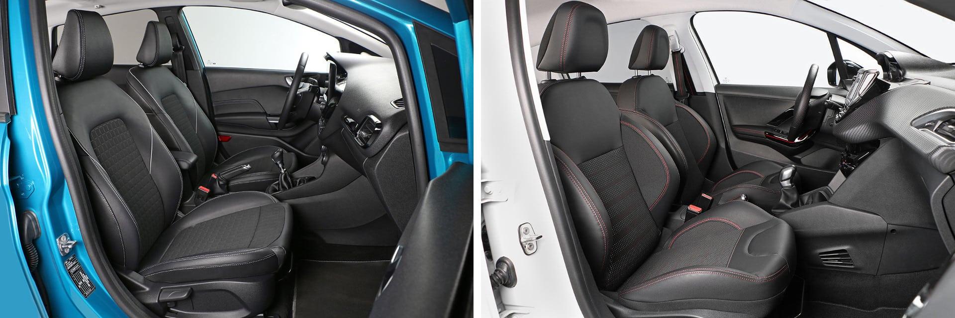 Los asientos delanteros del Ford Fiesta al igual que el volante, puedan ser calefactables por 450 euros. Una opción no disponible en el Peugeot 208.