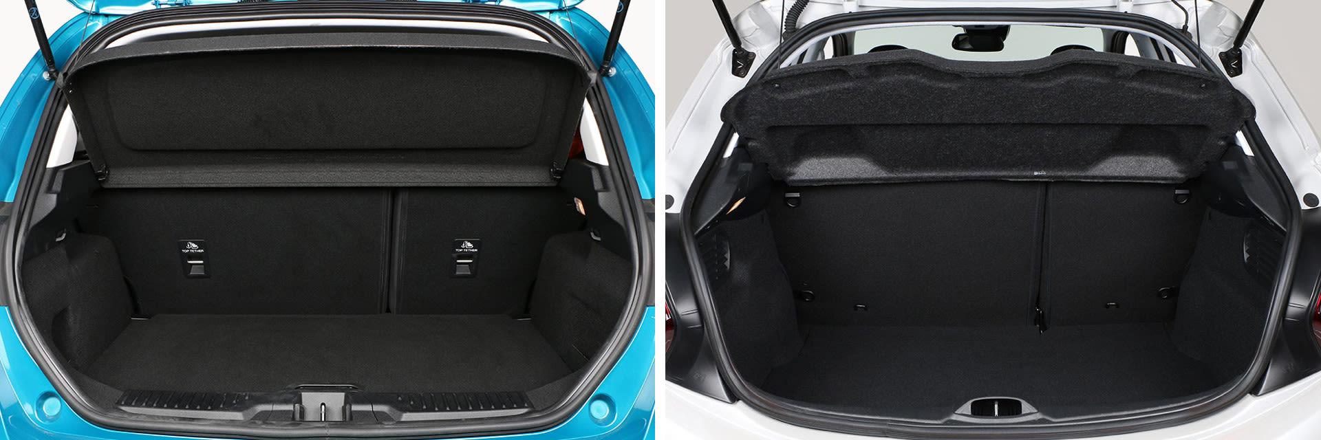 El maletero del Ford Fiesta (izquierda) tiene 18 litros de cpacidad más que su rival (303 litros por los 285 del Peugeot). Además, la bandeja del Fiesta permite colocar la bandeja en dos alturas.