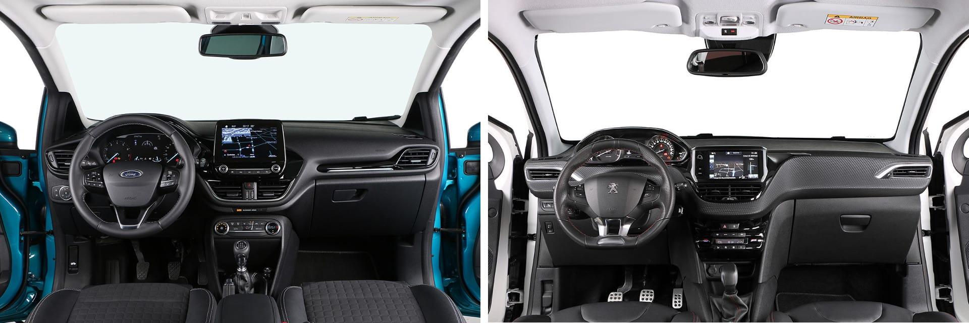 Los materiales del interior del Peugeot 208 (derecha) son de mayor calidad que los del Ford Fiesta (izquierda).