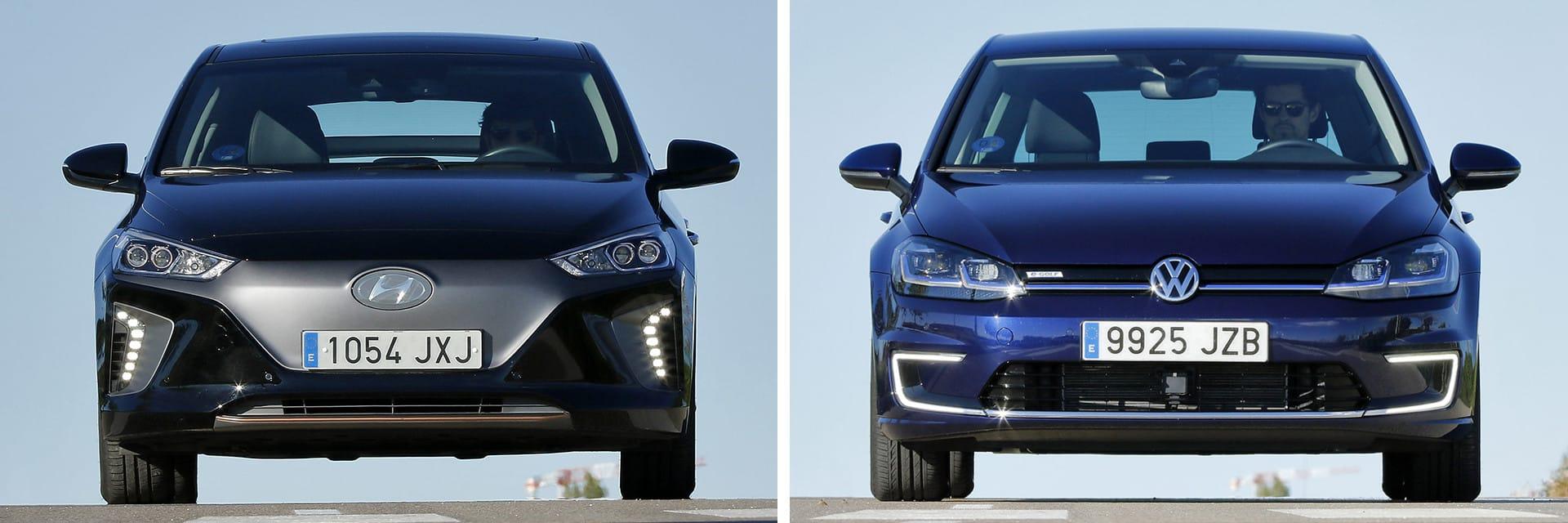Tanto el Hyundai (izq.) como el Volkswagen (dcha.) están disponibles con luz diurna de ledes.