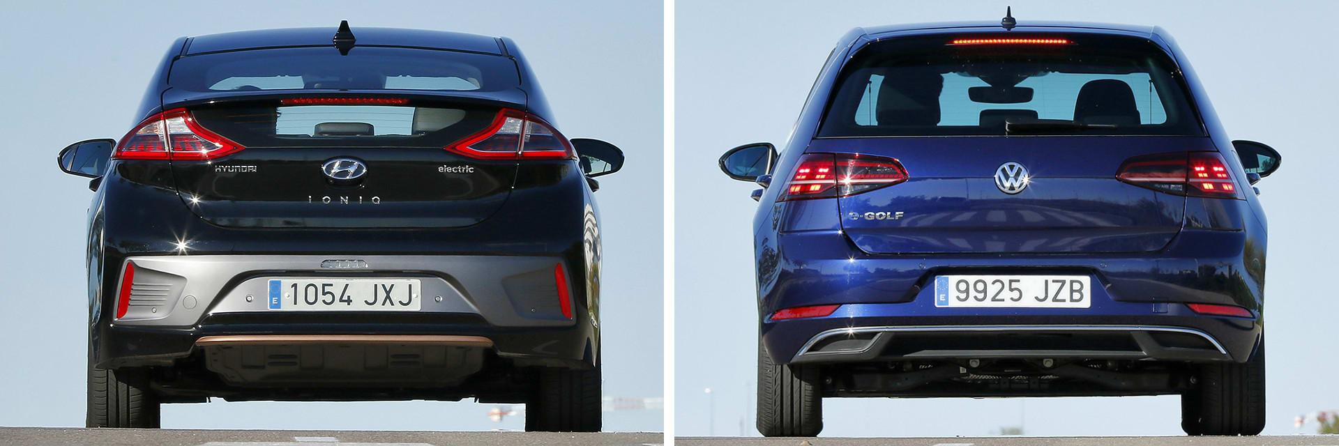 El Hyundai (izq.) se puede elegir entre tres acabados. El Volkswagen e-Golf (dcha.) únicamente está disponible con un acabado.