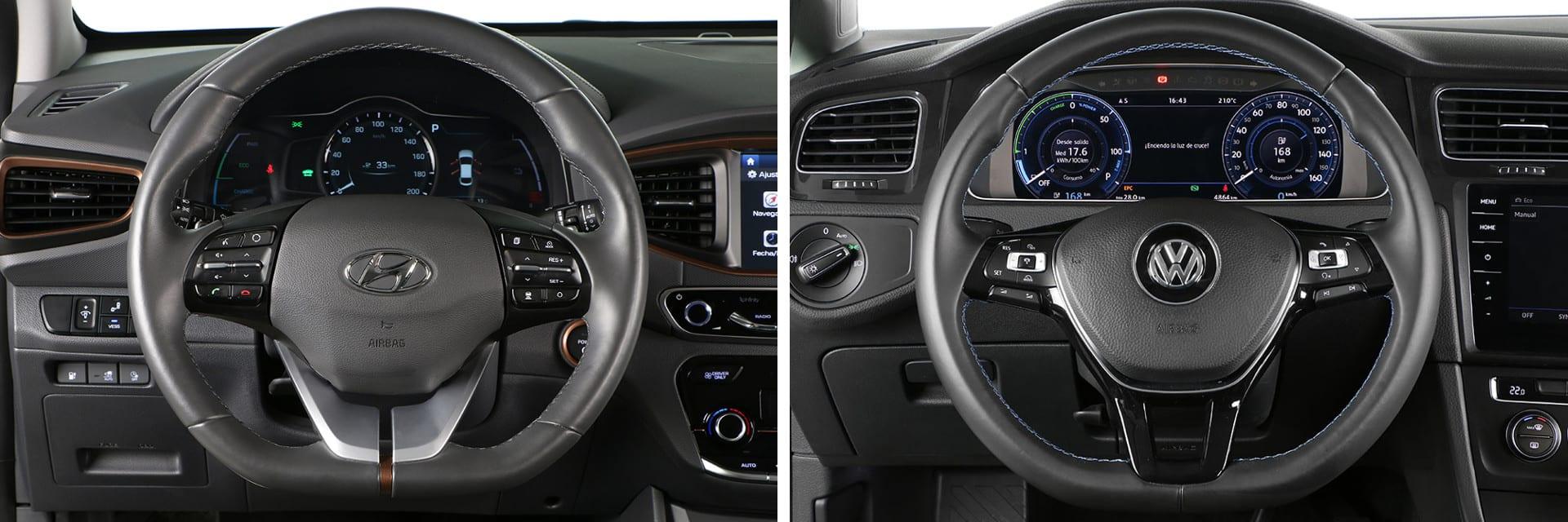 El IONIQ (izq.) está disponible de serie con el volante calefactado; el e-Golf (dcha.) no lo tiene ni opcional.