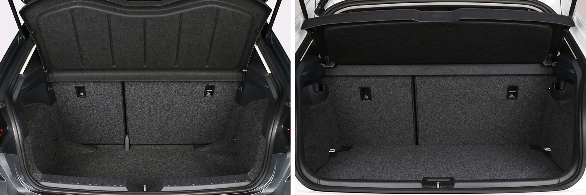 El maletero del Polo (izq.) y del Ibiza (dcha.) cuentan con una capacidad muy parecida: 351 y 355 litros, respectivamente.