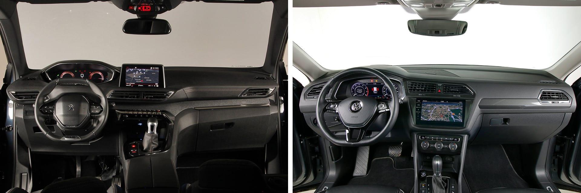 La pantalla principal del Volkswagen (decha.) ofrece una mejor experiencia de manejo. En el Peugeot todo requiere más pasos, con la consiguiente pérdida de atención a la conducción.
