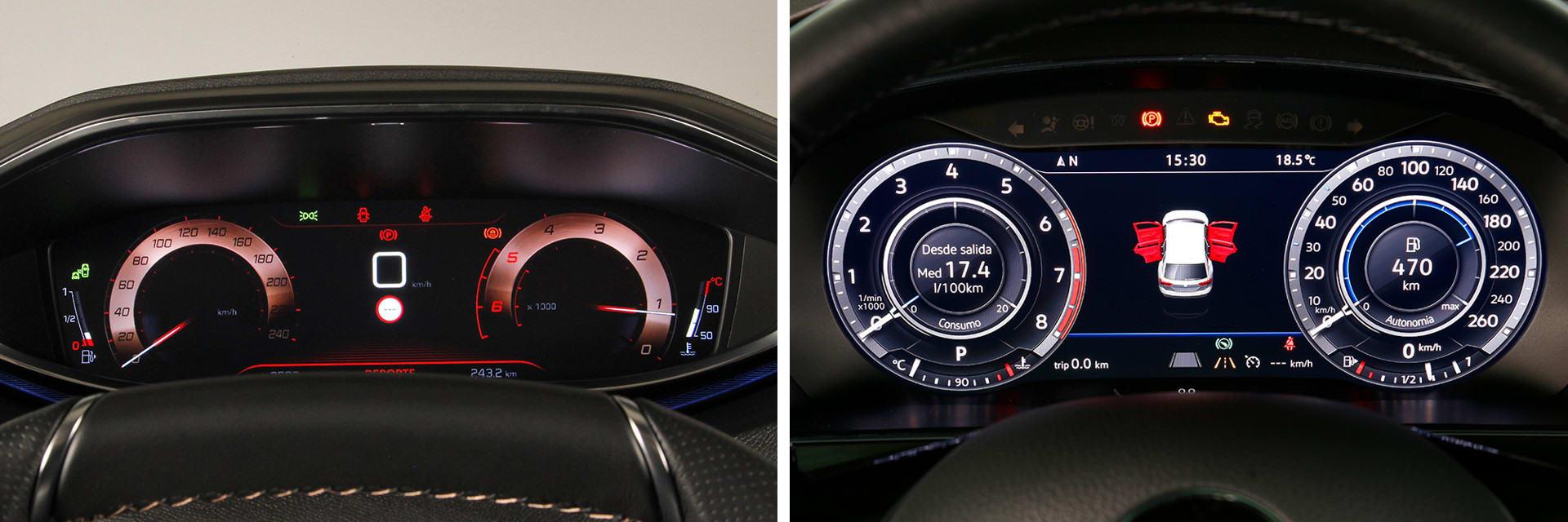 La instrumentación del Peugeot (izq.) hay que mirarla por encima del volante, no por el interior del aro como es en el Tiguan Allspace (dcha.)