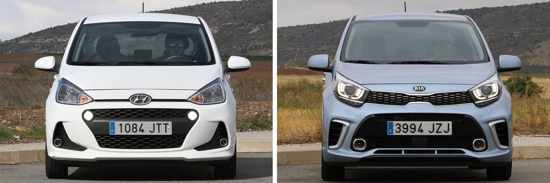 El Hyundai i10 (izq.) destaca por su espacio interior y el Kia Picanto (dcha.) por su equipamiento y por sus mejores prestaciones.