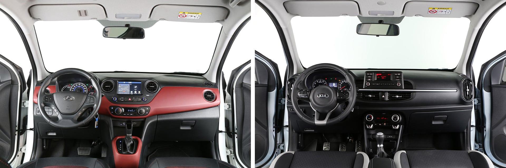 Ambos interiores están realizados con materiales de buena calidad. El aspecto del i10 (izq.) es más juvenil, mientras que el Picanto (dcha.) es más deportivo.