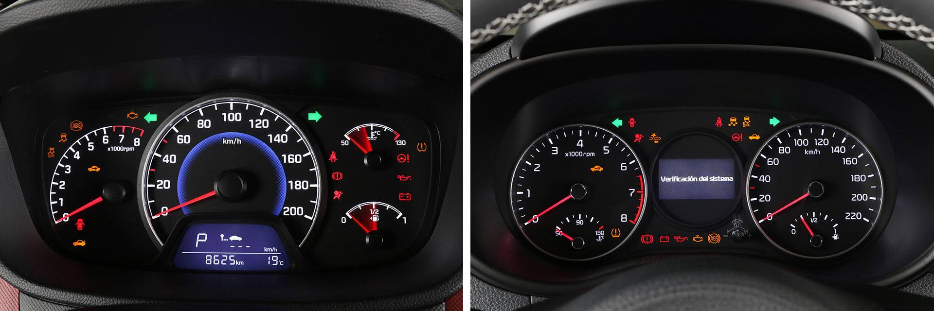 La instrumentación del Hyundai (izq.) y del Kia (dcha.), pese a ser diferentes, tienen ambas una buena visibilidad.