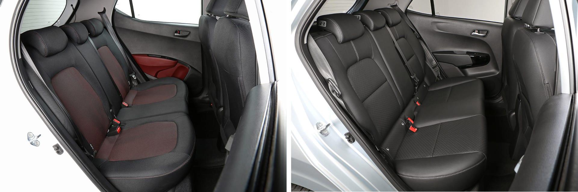 El Hyundai i10 (izq.) cuenta con mayor espacio en las plazas traseras.
