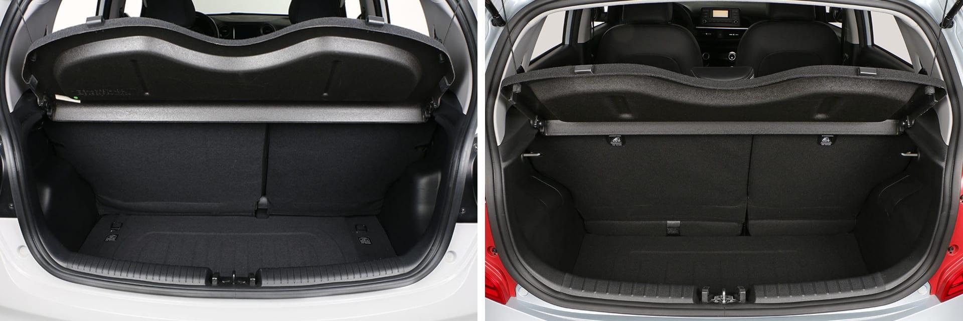 Existen pocas diferentes en cuanto a la capacidad del maletero: 252 litros en el i10 (izq.) y 255 en el Picanto (dcha.)