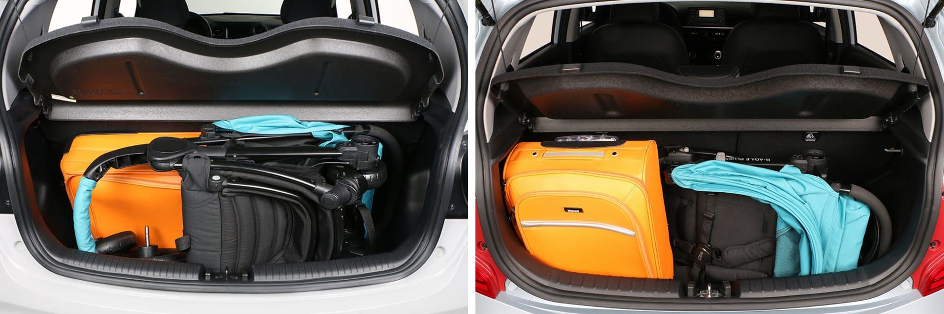 En ambos vehículos se puede cargar una silla infantil y una maleta que no sea muy grande.
