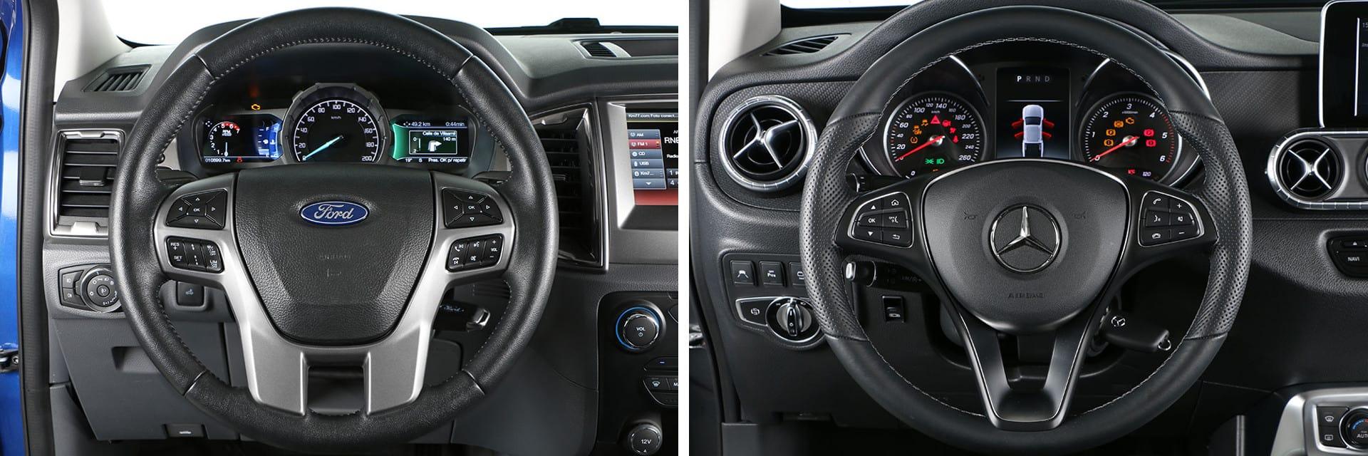 Ambos modelos cuentan con un volante con diseño de tres radios.
