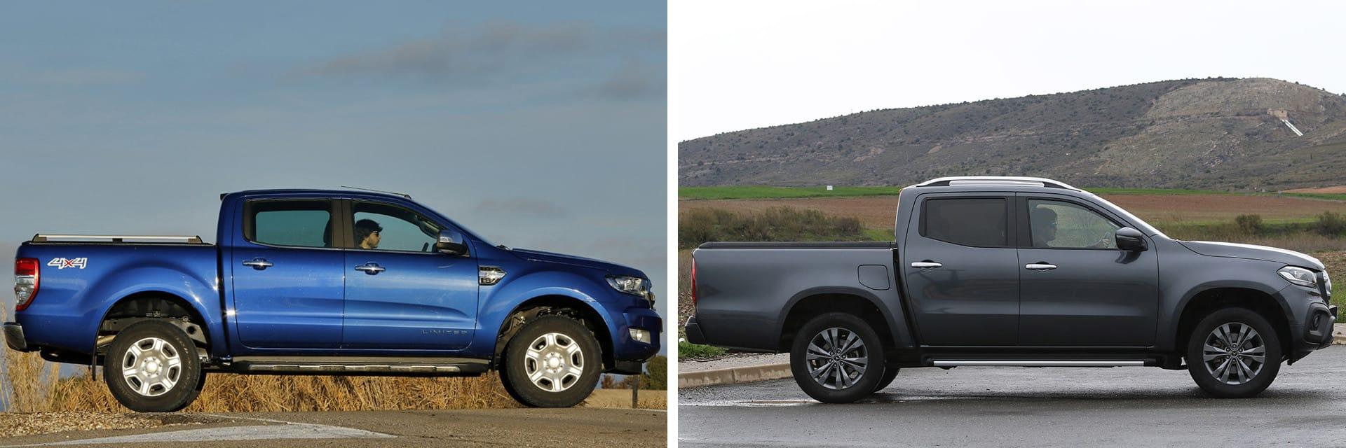 El Ford Ranger (izq.) está a la venta con motores de 160 y 200 CV, mientras que el Mercedes (dcha.) lo hace con motores de 163 y 190 CV.