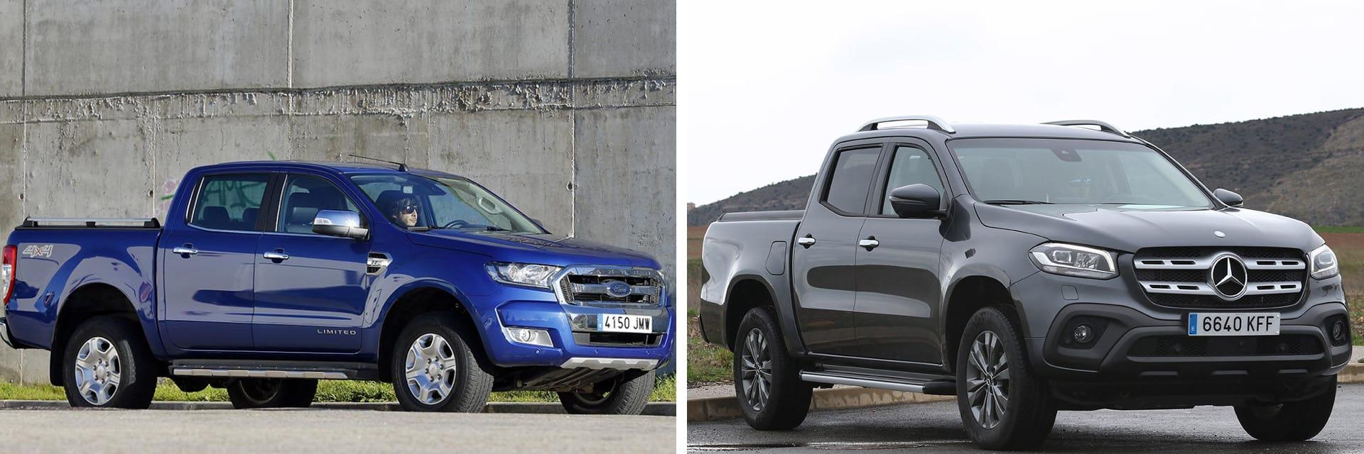 El Ford Ranger (izq.) con el motor de 200 CV consigue una mejor aceleración de 0 a 100 que el Clase X (dcha.)