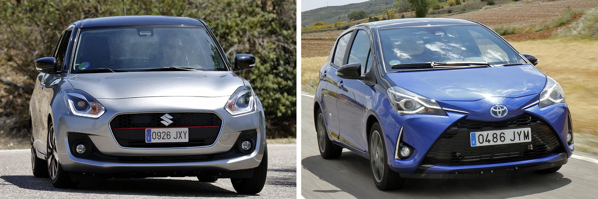 Tanto el Suzuki Swift 1.0 GLX SHVS (izq.) como el Toyota Yaris 100H Feel! (dcha.) son vehículos híbridos.