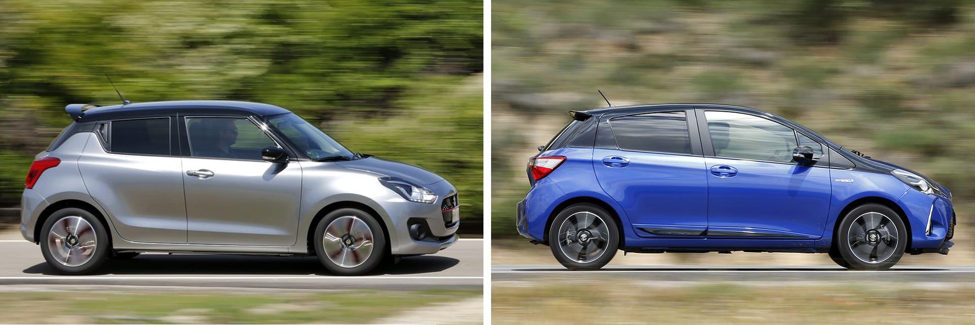Ni el Suzuki Swift 1.0 GLX SHVS (izq.) ni el Toyota Yaris 100H Feel! (dcha.) son vehículos ideales para circular fuera de ciudad.