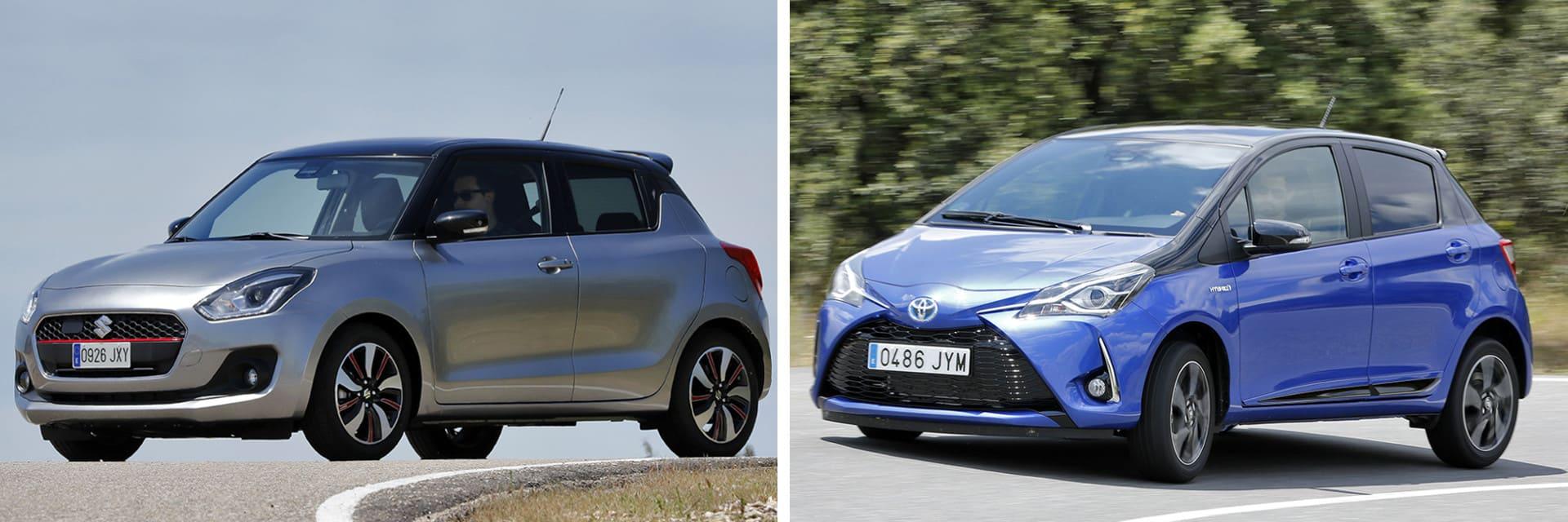 El Toyota Yaris 100H Feel! (dcha.) tiene un consumo más bajo que el Suzuki Swift 1.0 GLX SHVS (izq.)