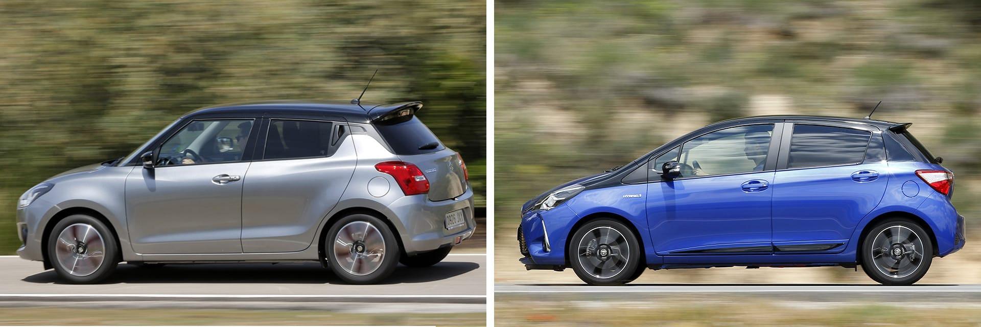 Este Suzuki Swift 1.0 GLX SHVS (izq.) es 570 euros más caro que el Toyota Yaris 100H Feel! (dcha.), pero cuenta con más equipamiento de serie.