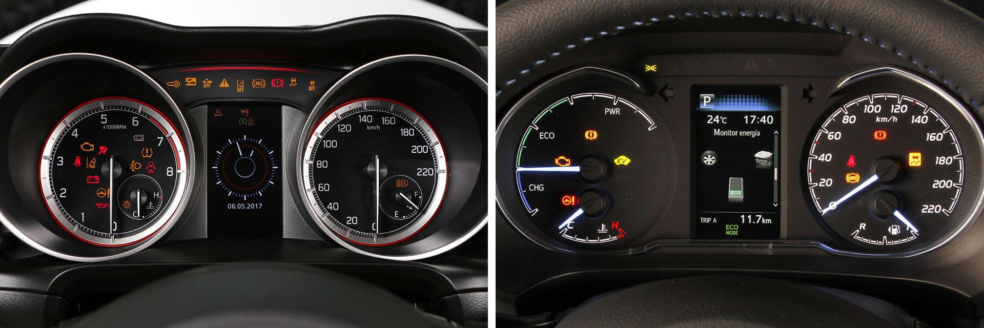 Tanto la instrumentación del Suzuki Swift (izq.) como la del Toyota Yaris (dcha.) se visualizan sin problemas y tienen un diseño muy parecido.