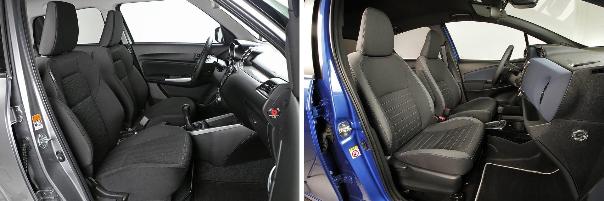 Atendiendo a la caliad de la tela y al mullido, los asientos del Suzuki Swift (izq.) son básicos y no tienen una muy buena sujeción lateral.