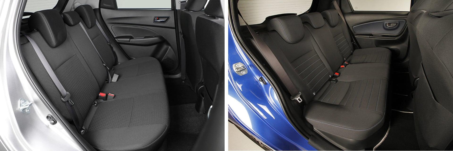 Los ocupantes de la parte trasera irán más cómodos en el Suzuki Swift (izq.), ya que cuentan con más espacio, que en el Toyota Yaris (dcha.)