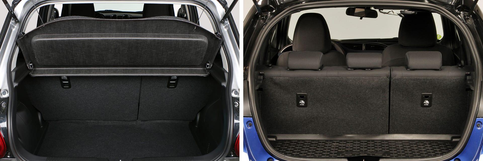 Ninguno destaca por tener un maletero grande, pero aun así el del Toyota Yaris (dcha.) tiene 21 litros más que el del Suzuki Swift (izq.)