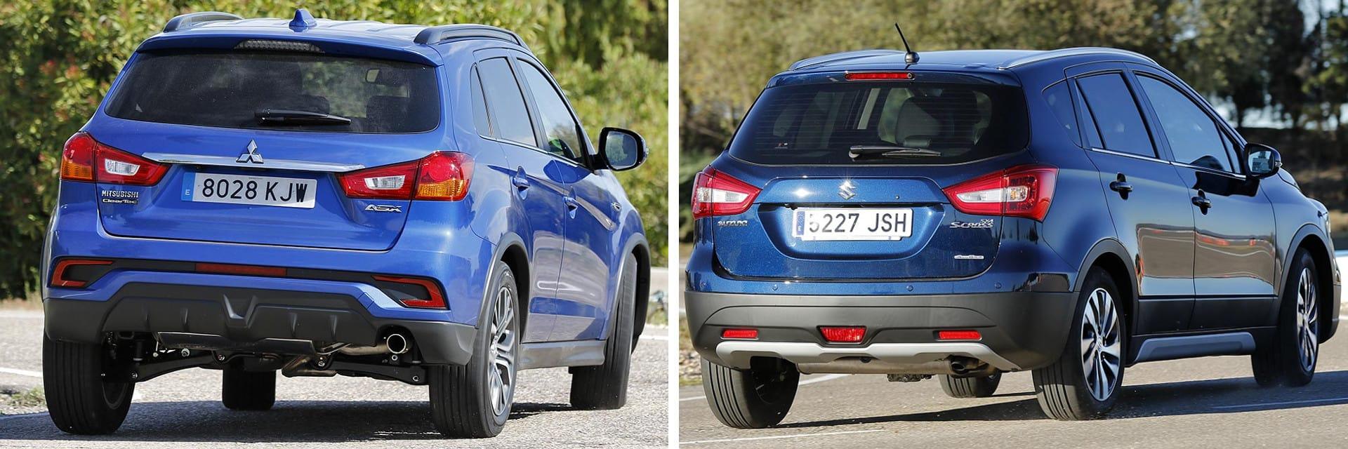 El Suzuki S-Cross (dcha.) tiene un consumo más bajo que el del Mitsubishi ASX (izq.), es más ágil y acelera más.
