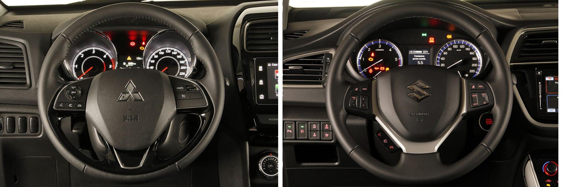 Tanto el volante del Mitsubishi ASX (izq.) como el del Suzuki S-Cross (dcha.) cuentan con las suficientes regulaciones como para encontrar una buena posición al conducir.