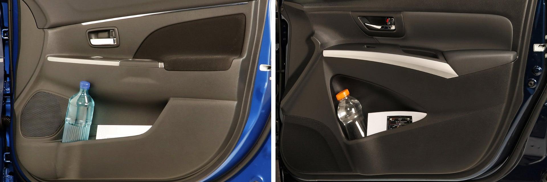 El Mitsubishi ASX (izq.) y el Suzuki S-Cross (dcha.) disponen de huecos suficientes para guardar los objetos diarios como la cartera, llaves, móvil, etc.