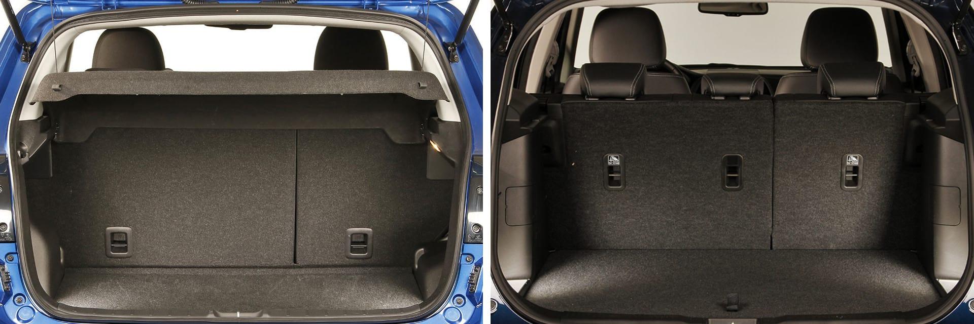 El maletero del Mitsubishi ASX (izq.) cuenta con una capacidad de 406 litros y el del Suzuki S-Cross (dcha.) de 430 litros.