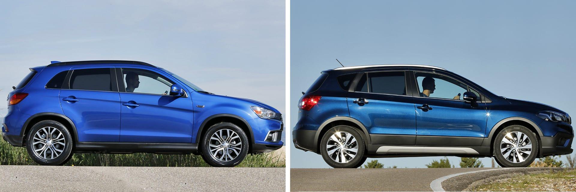 Tanto el Mitsubishi ASX (izq.) como el Suzuki S-Cross (dcha.) son dos vehículos tipo SUV de tamaño medio.