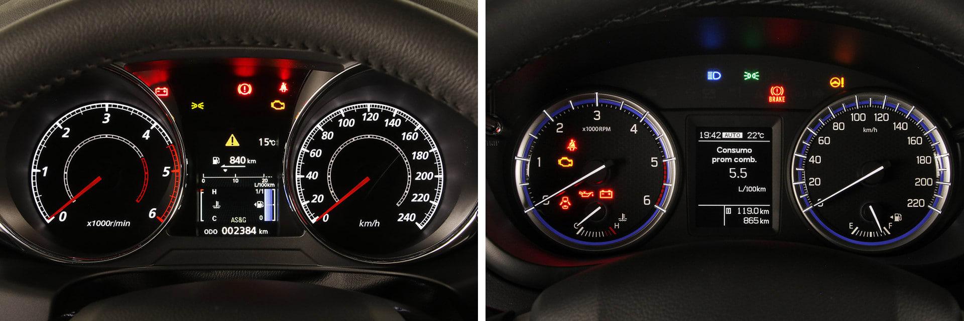 La instrumentación del Mitsubishi ASX (izq.) y la del Suzuki S-Cross (dcha.) se ve bien en cualquier circunstancia.