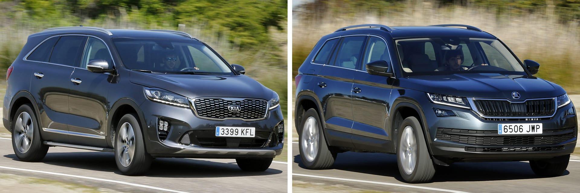El KIA (izq) es un vehículo más torpe y tiene mayor tendencia a abrir la trayectoria en curvas en comparación con el Škoda (dcha).