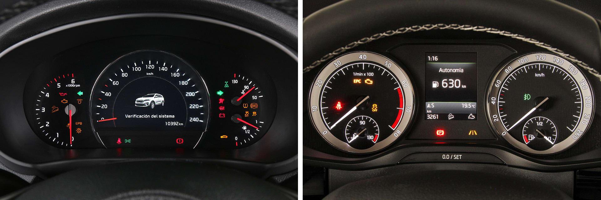 Ambas instrumentaciones tienen buena visibilidad y ofrecen al conductor la información necesaria: autonomía, kilómetros recorridos, nivel de depósito, etc.
