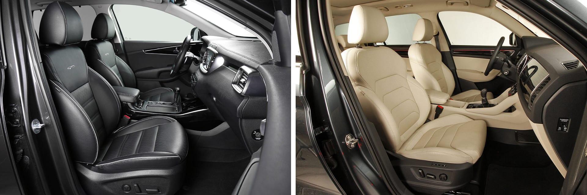 Tanto los asientos delanteros del Sorento (izq) como los del Kodiaq (dcha) pueden contar con ventilación y calefacción.