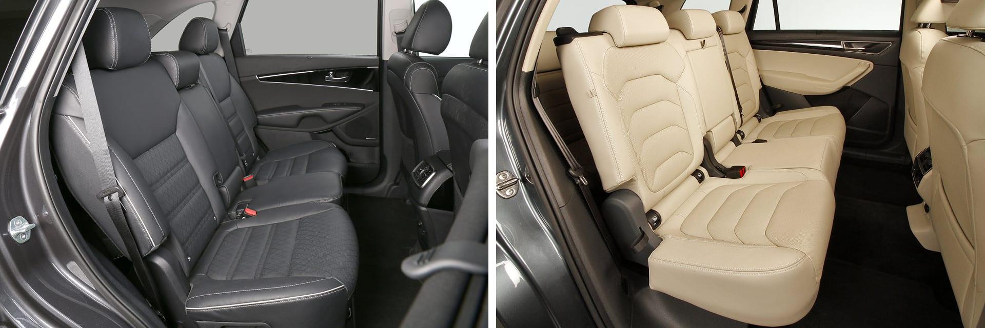 Los asientos traseros de estos dos coches pueden desplazarse individualmente de forma longitudinal para dejar mayor espacio a la tercera fila de asientos.