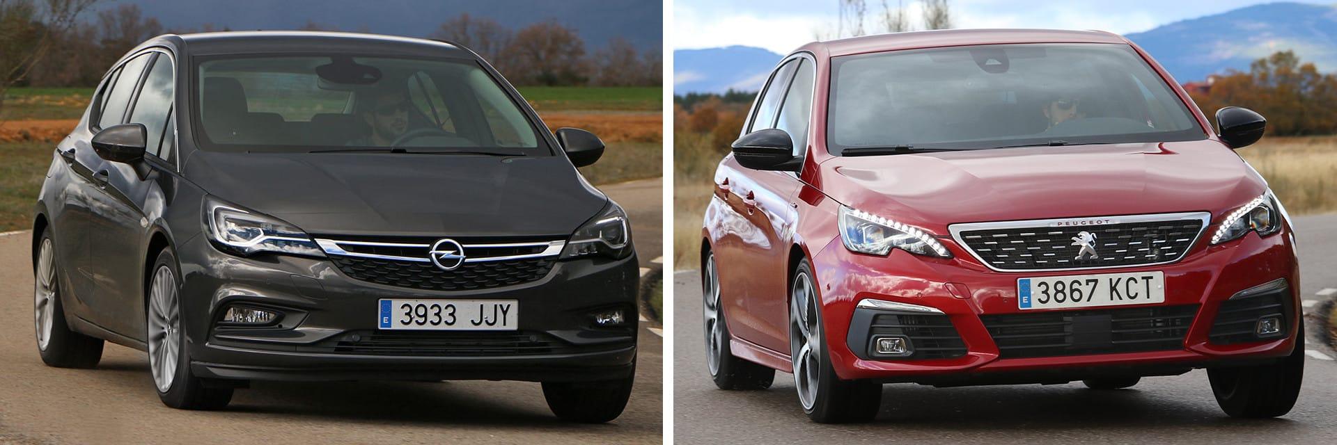 El Opel Astra (izq.) y el Peugeot 308 (dcha.) son dos de los vehículos más vendidos del segmento compacto.
