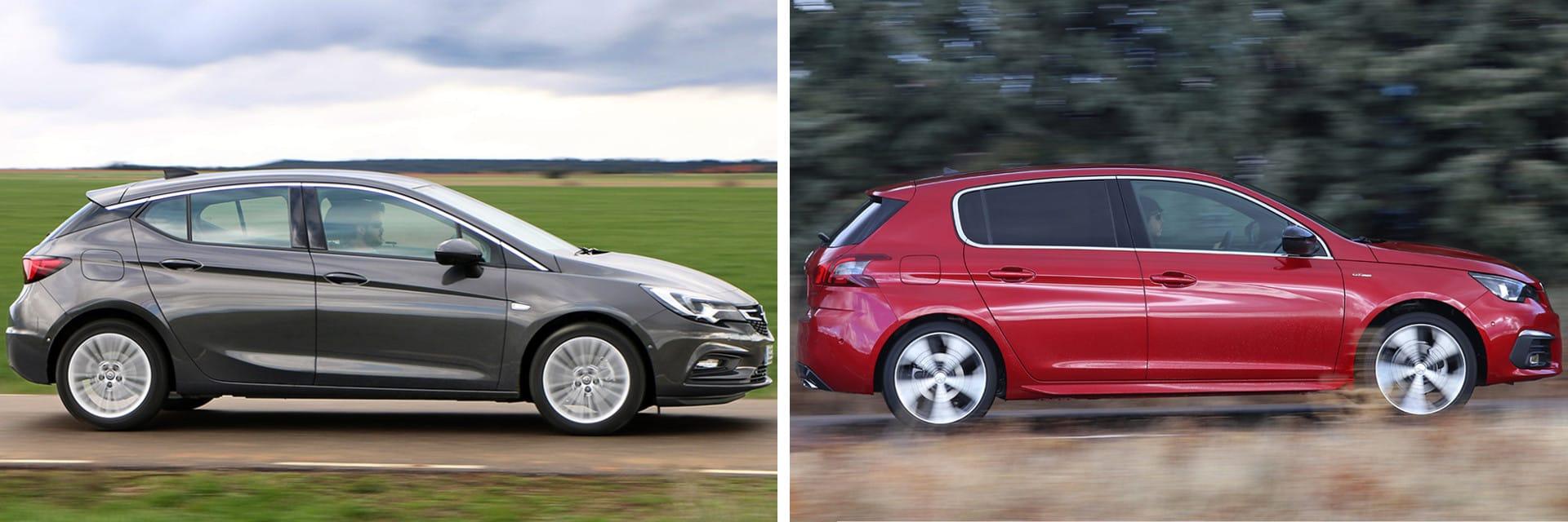 A la hora de realizar adelantamientos, el Opel Astra (izq.) es casi un segundo más rápido que el Peugeot 308 (dcha.)