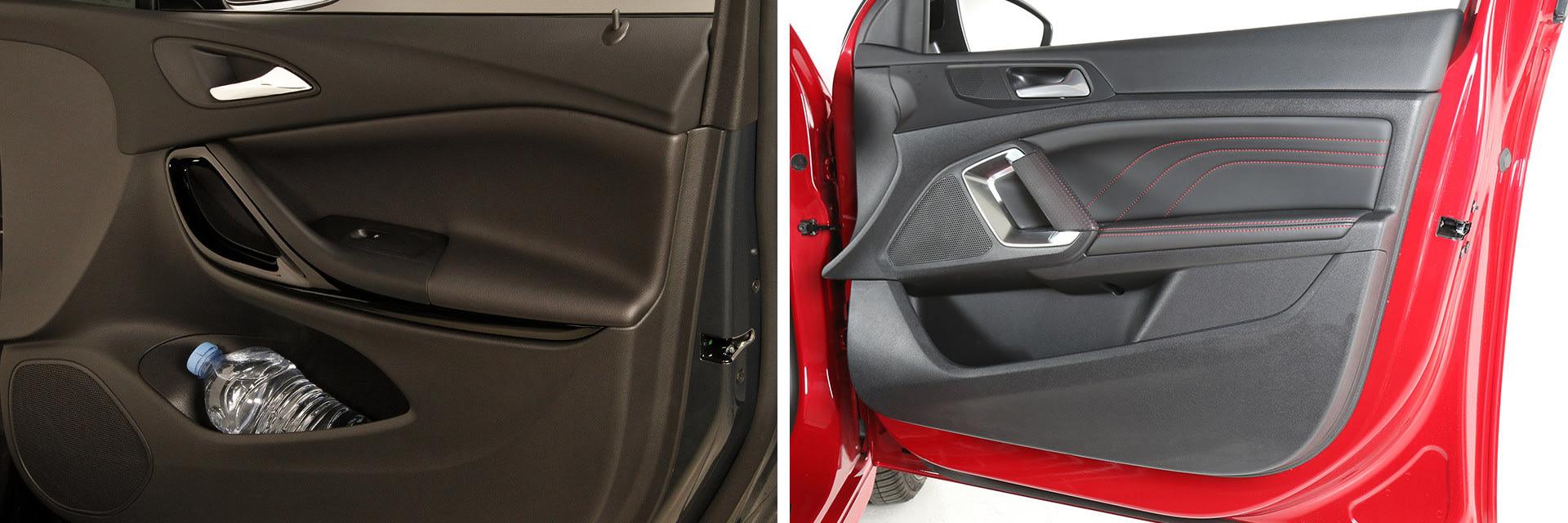 El Opel Astra (izq.) cuenta con las compartimentos en el interior que los que tiene el Peugeot 308 (dcha.)