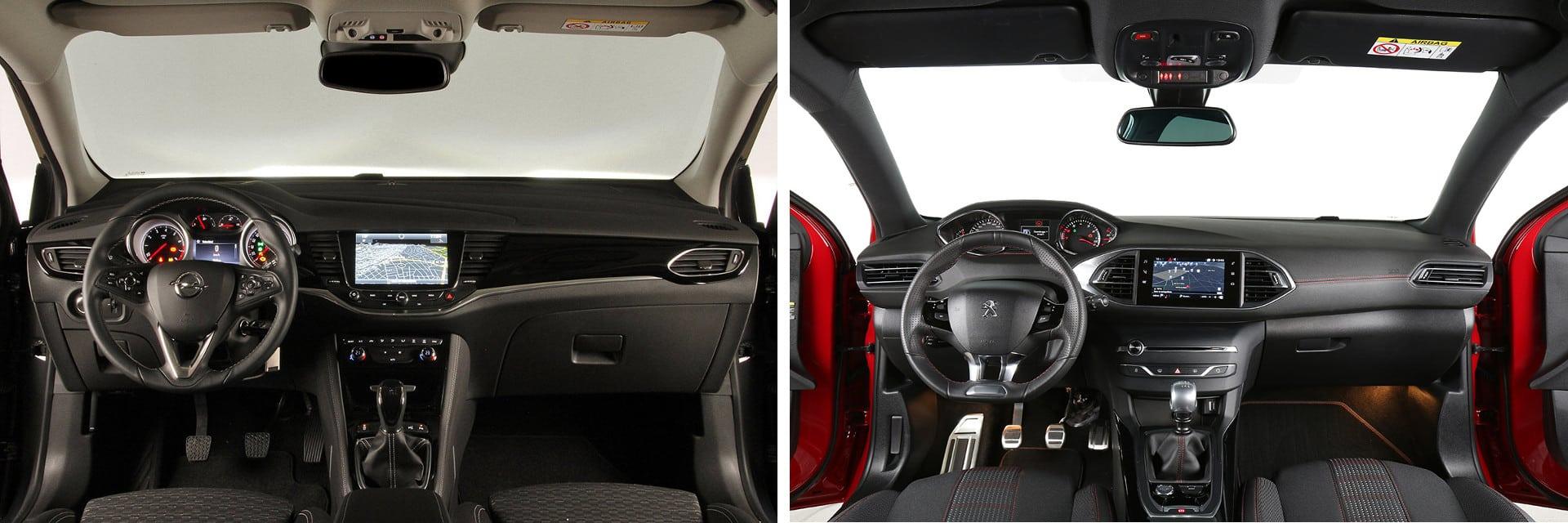 Es aconsejable probar el puesto de conducción del Peugeot 308 (dcha.) debido a las pocas opciones de ajustes.
