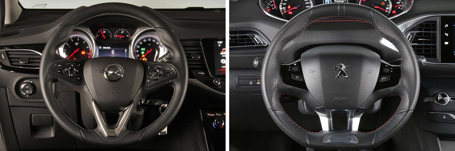 El volante del Peugeot 308 (dcha.) es más pequeño de lo normal e impide ver la instrumentación por encima del aro.
