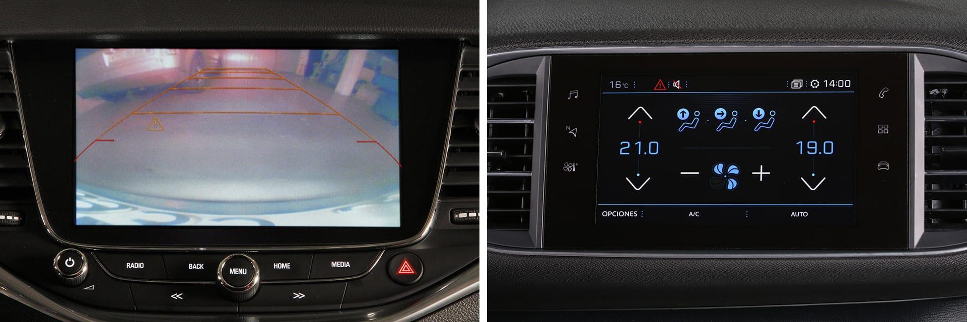 La pantalla del Opel Astra (izq.) es de 7 pulgadas mientras que la del Peugeot 308 (dcha.) es de 9,7 pulgadas.