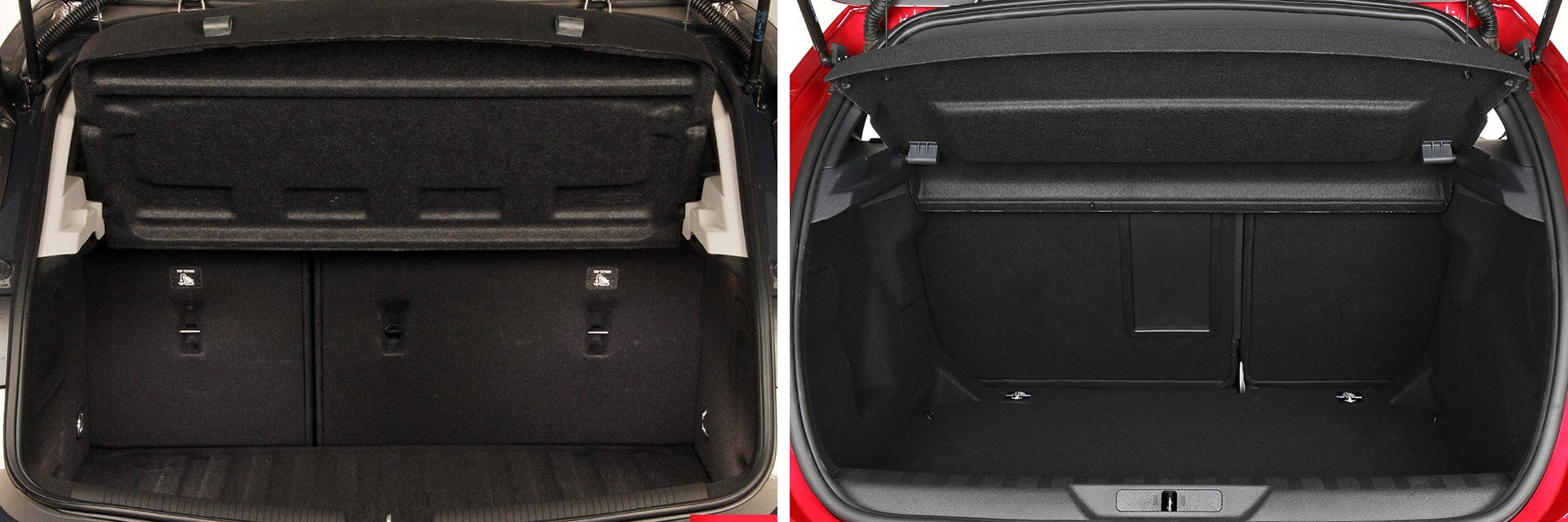 La capacidad del maletero del Peugeot 308 (dcha.) es 50 litros superior a la del Opel Astra (izq.)