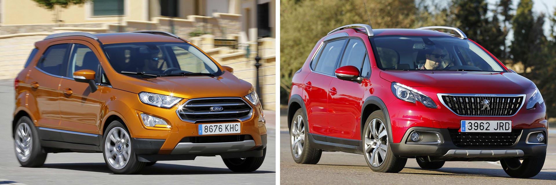 El Peugeot 2008 (dcha.) tiene un consumo más contenido que el Ford EcoSport (izq.)