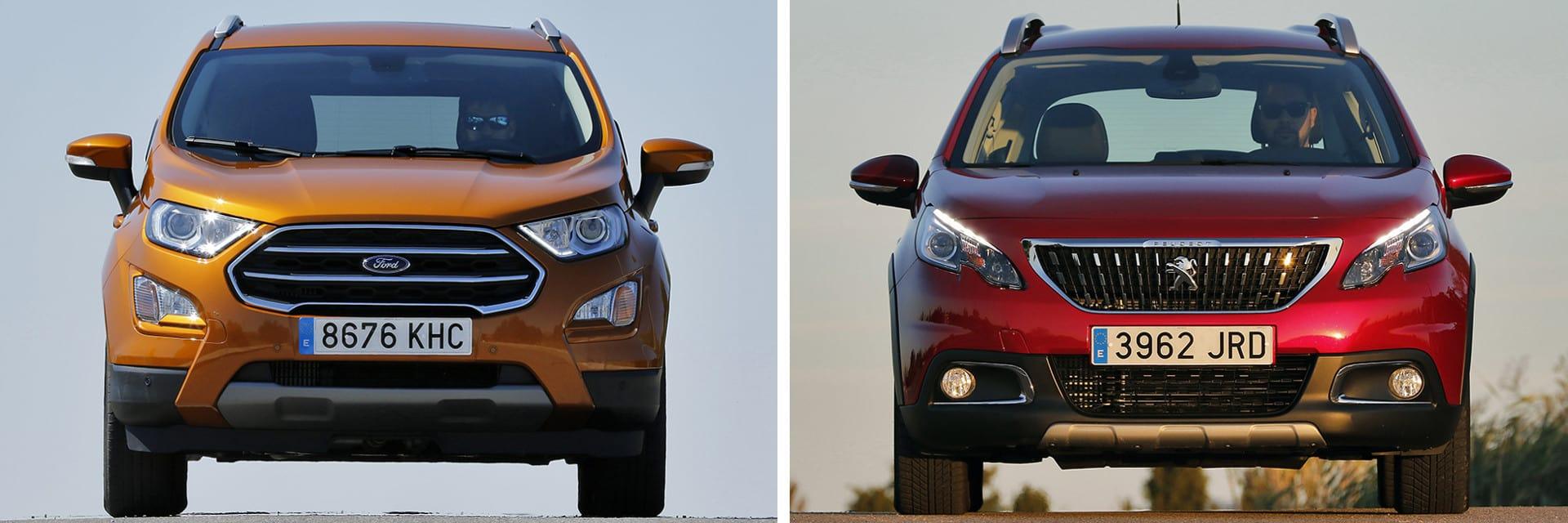 Pese a tener menos potencia el Peugeot (dcha.), tiene mejores prestaciones que el Ford (izq.)