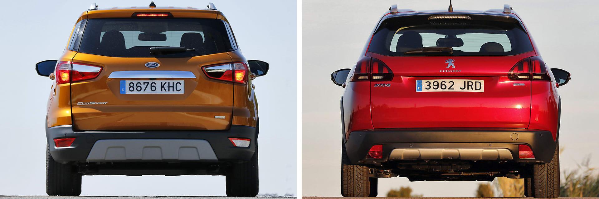 El Ford EcoSport Titanium de 140 CV tiene un precio de 20 252 euros (izq.) y el Peugeot 2008 GT Line de 130 CV, de 20 500 euros (dcha.)
