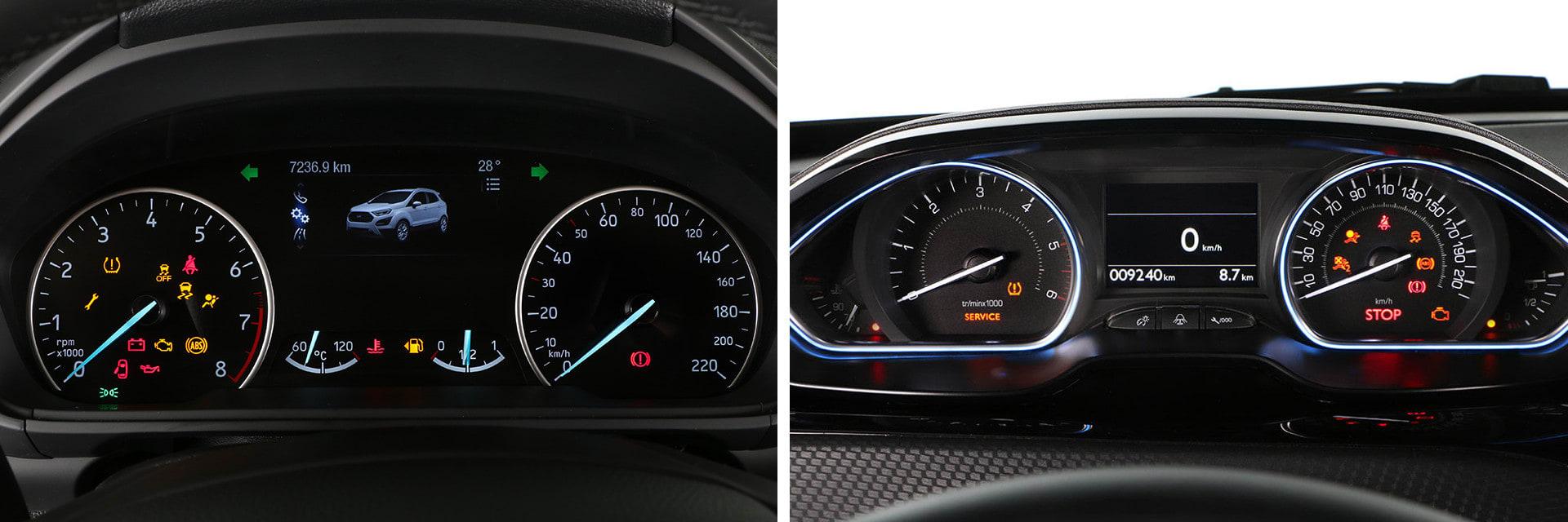 La instrumentación del Peugeot 2008 (dcha.) se visualiza por encima del aro del volante y no por dentro como es lo habitual.